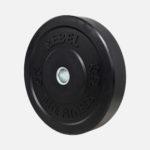 Black rubber bumper plate_25kg_angle