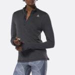 REEBOK WOMEN'S RUNNING ESSENTIALS QUARTER ZIP TOP BLACK_2
