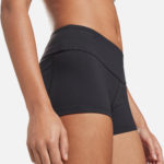 Reebok Women's Chase Bootie Shorts Solid Black front styled angle